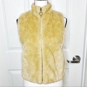 Ann Taylor LOFT Faux Fur Tan Full-Zip Vest C6